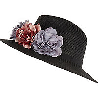 Black floral trim fedora hat