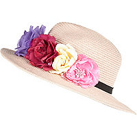 Light pink floral trim fedora hat