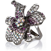 Gunmetal tone encrusted flower ring