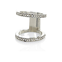 Silver tone diamante knuckle ring