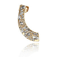 Gold tone encrusted ear cuff