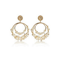 Gold tone floral double hoop earrings