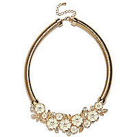 Gold tone clustered flower slinky necklace