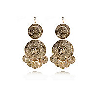 Gold tone coin drop earrings