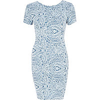 Blue paisley scoop back bodycon dress