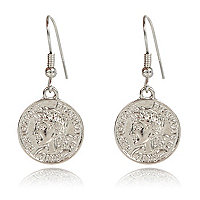 Silver tone coin drop earrings