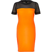 Orange mesh yoke bodycon dress