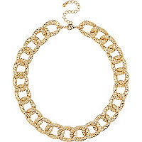Gold tone chunky textured chain necklace