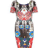 Grey abstract foiled print bodycon dress