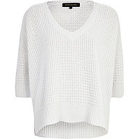 White V neck open knit boxy jumper