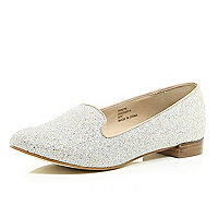 Silver glittery slipper shoes