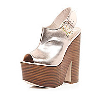 Rose gold metallic sling back platforms