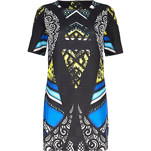 Black abstract graphic print shift dress