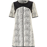 Black snake leather-look yoke shift dress