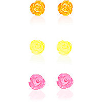 Pink fluro flower stud earrings pack