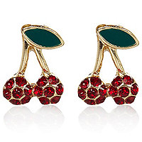 Red encrusted cherry stud earrings