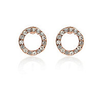 White encrusted circle stud earrings