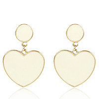 Cream heart drop earrings