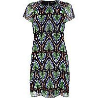 Green tribal print swing dress