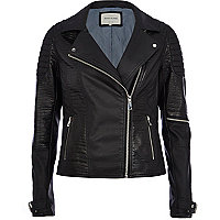 Black mock croc panel biker jacket