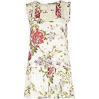 Cream floral print frill hem tunic