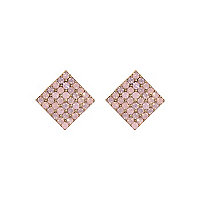 Pink encrusted stud earrings