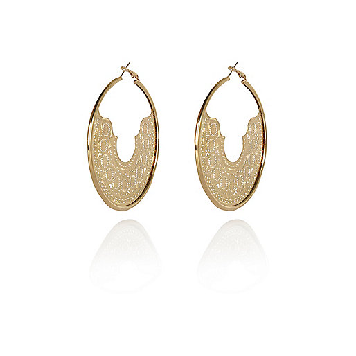 Gold tone laser cut aztec hoop earrings