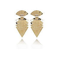 Gold tone tribal triangle stud earrings