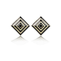 Black and gold square stud earrings
