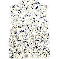 Cream floral print ruffle blouse