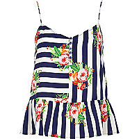 Navy stripe floral peplum cami top