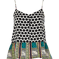 Black mixed print peplum cami top