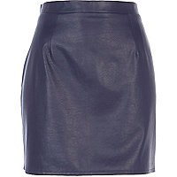 Navy leather-look mini skirt