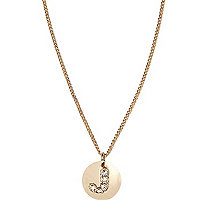 Gold tone diamante J initial necklace