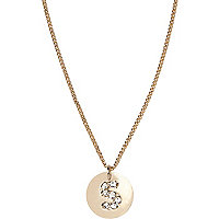 Gold tone diamante S initial necklace