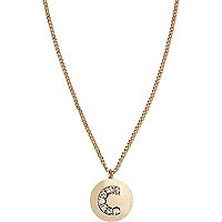Gold tone diamante C initial necklace