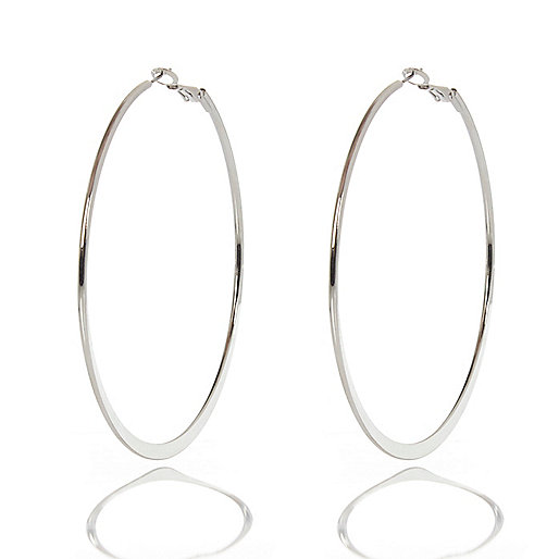 Silver tone flat bottom hoop earrings