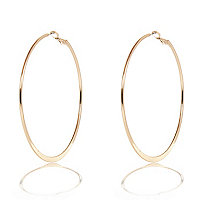 Gold tone flat bottom hoop earrings