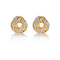 Gold tone encrusted knot stud earrings