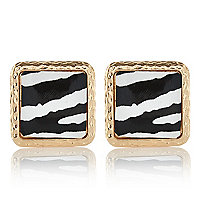 Gold tone zebra print square stud earrings