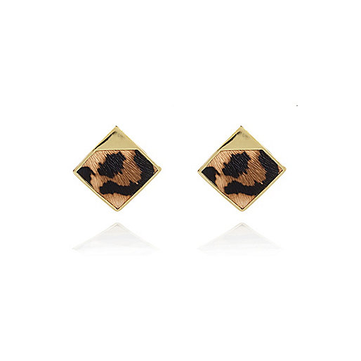 Gold tone leopard print square stud earrings