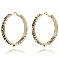 Brown snake studded hoop earrings