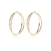 Gold tone encrusted double hoop earrings