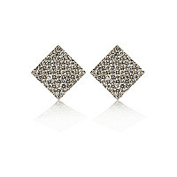 Silver tone encrusted square stud earrings