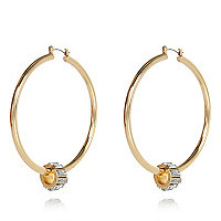 Gold tone charm hoop earrings
