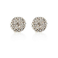 Gold tone encrusted stud earrings