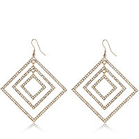 Gold tone encrusted square drop earrings