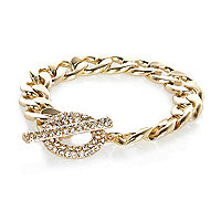 Gold tone encrusted T bar curb bracelet