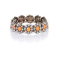 Gold tone diamante floral stretch bracelet