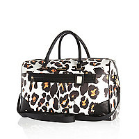 White leopard print weekend bag
